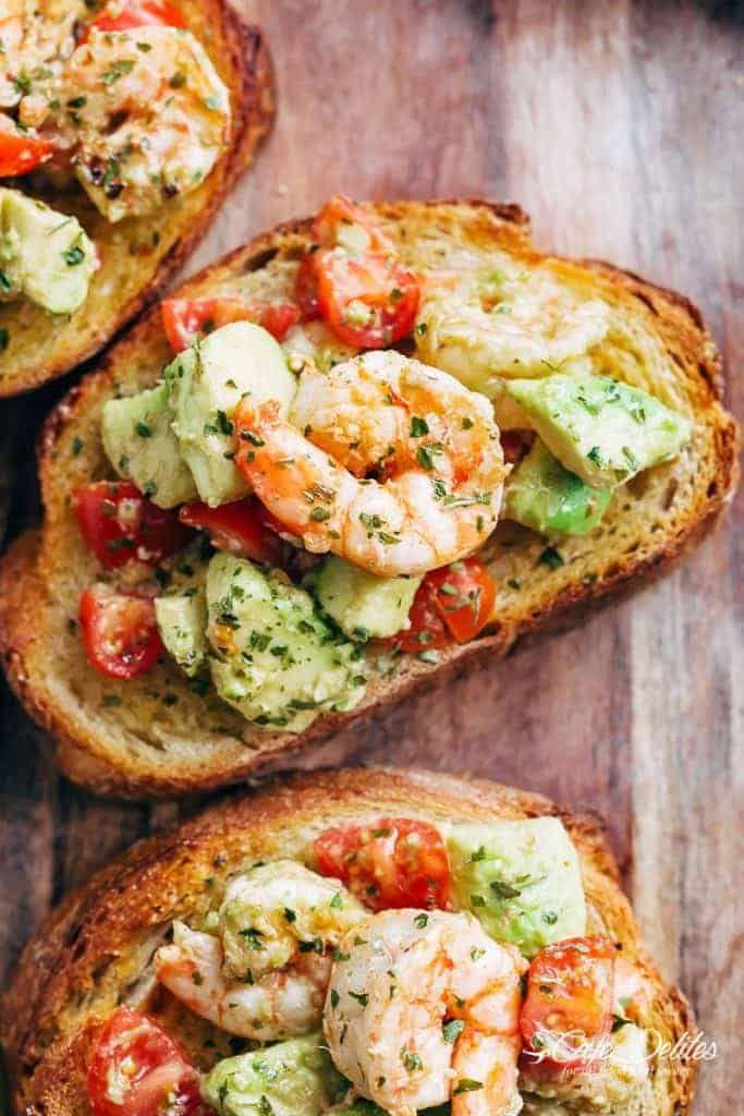 Shrimp Avocado Garlic Bread Recipe In 2018 Lunch Ideas