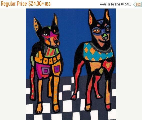 50% Off- Miniature Pinscher Art - Min Pin art dog Poster Print of painting by Heather Galler (HG679)