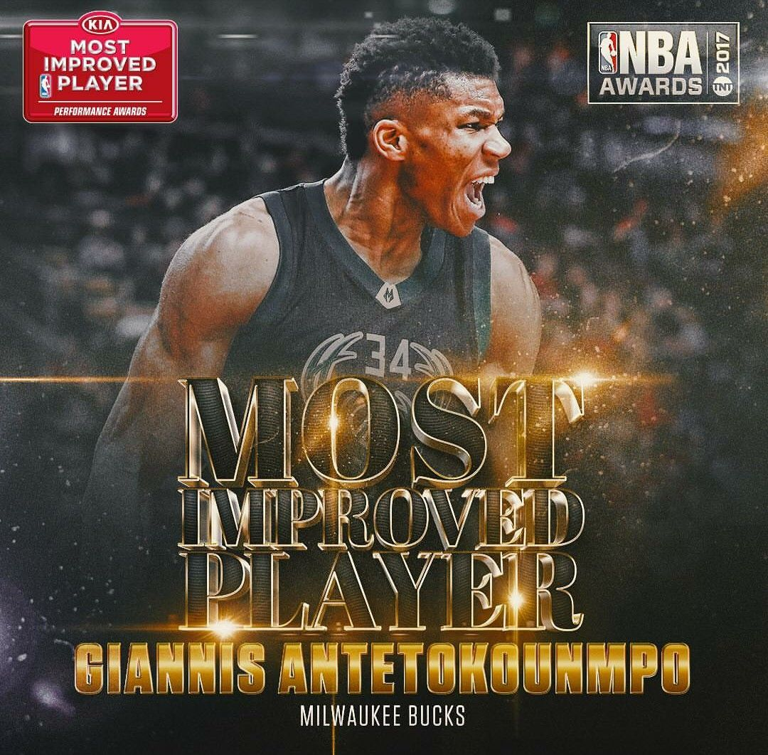 Giannis wins most improved player 2017 Nba, Karl anthony