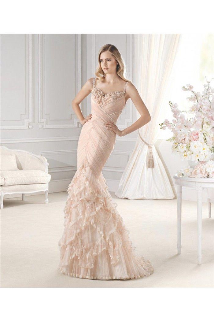 Unique Mermaid Sweetheart Open Back Peach Lace Ruffle Wedding ...