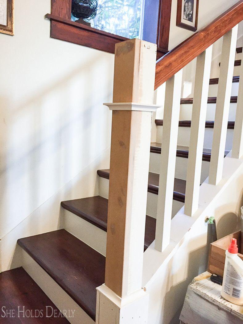 Best Farmhouse Newel Post Makeover Diy Stair Railing Stair 640 x 480