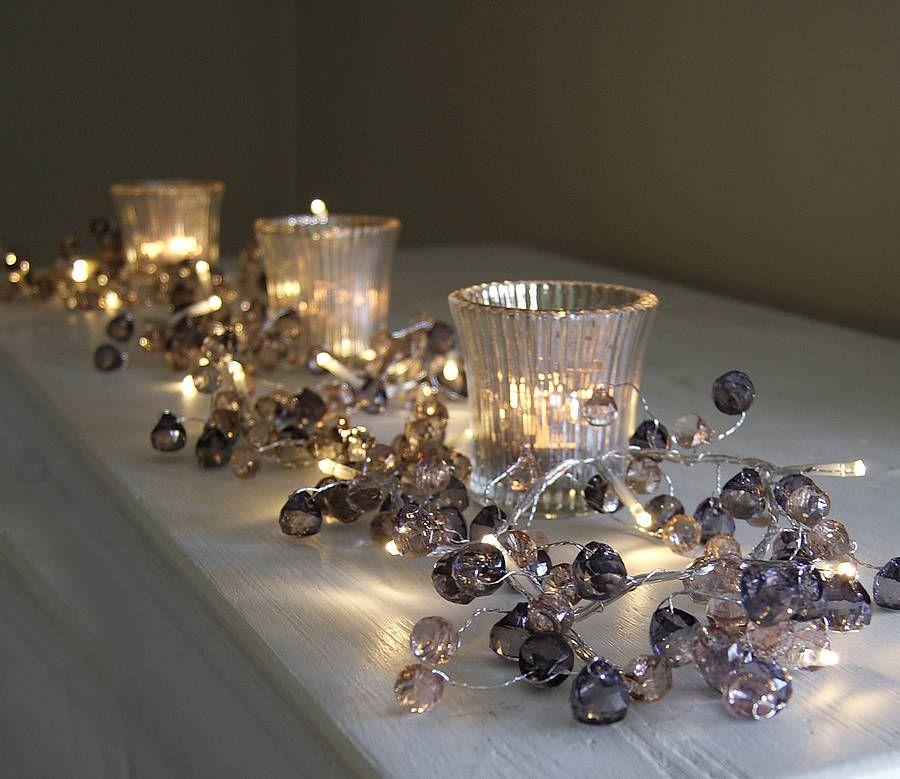 Graphite and amber crystal light garland light garland