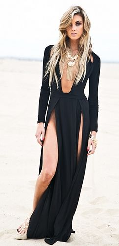 bf935a6ee27d9 Queen Isis Black Long Sleeve Plunge V Neck Cut Out Shoulder Double High Slit  Maxi Dress