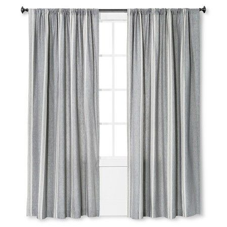 Linen Stripe Curtain Panel Charcoal 95