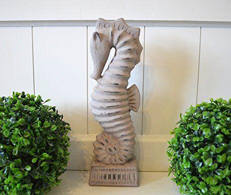 Seepferd Keramik Deko Seepferdchen Skulptur grau ca. 32cm ...