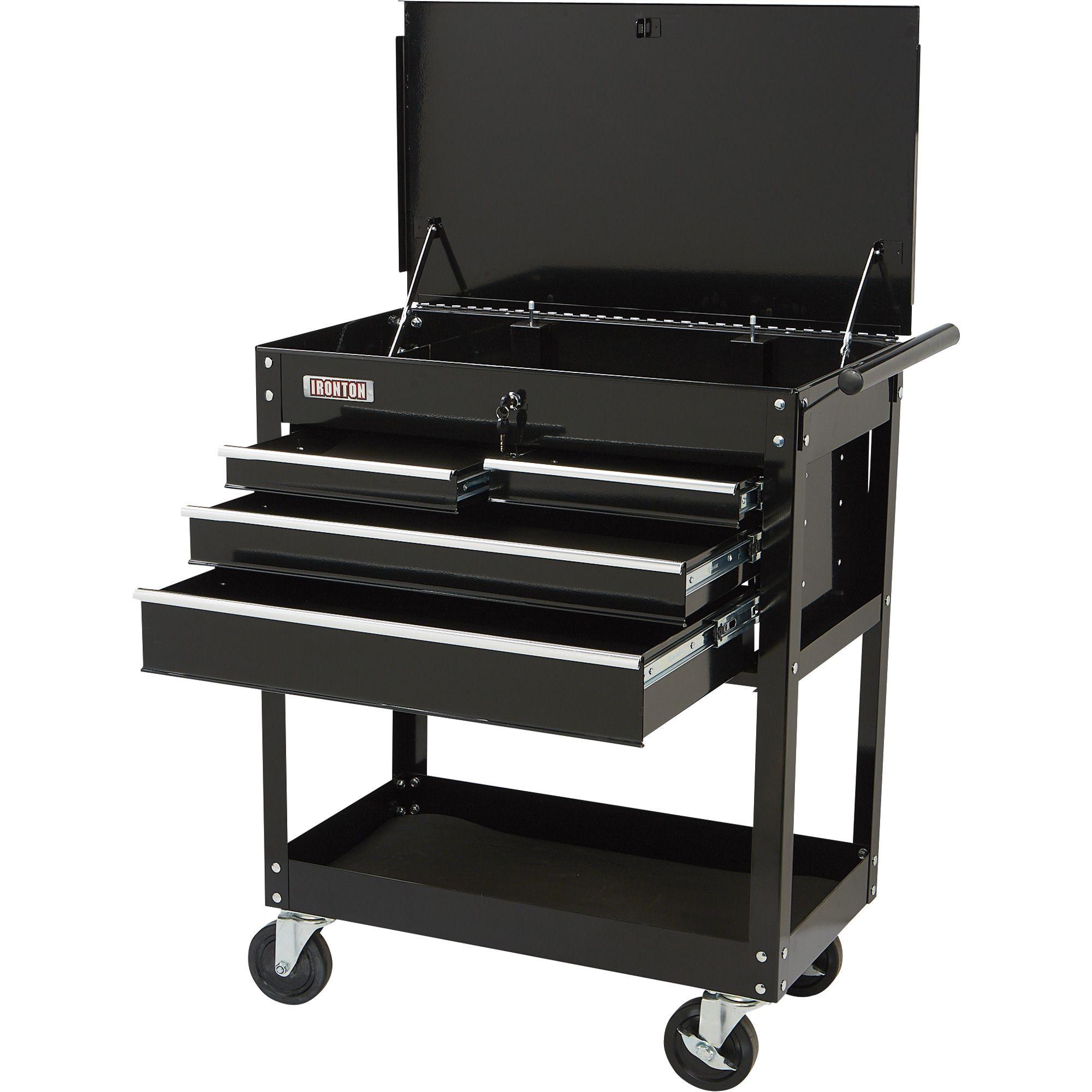 Large Storage Drawer Black Tuffy Teacher/'s Cushion Mobile Seat 4 Wheels