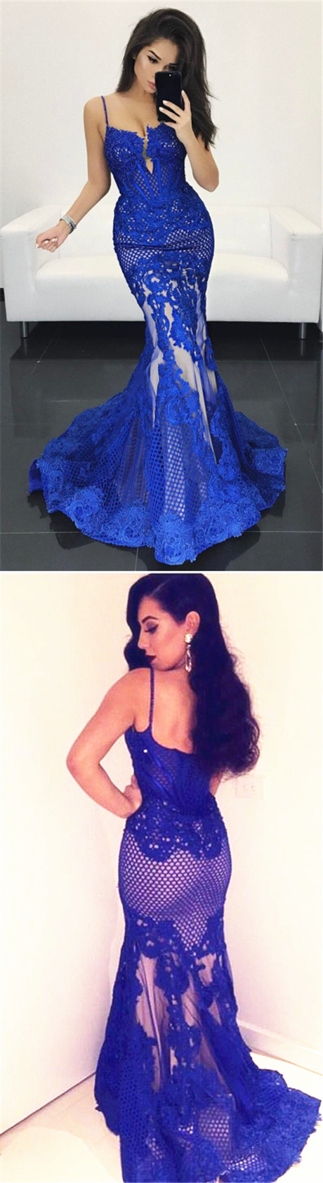 Mermaid Style Spaghetti Straps Long Royal Blue Lace Prom Dress with ...