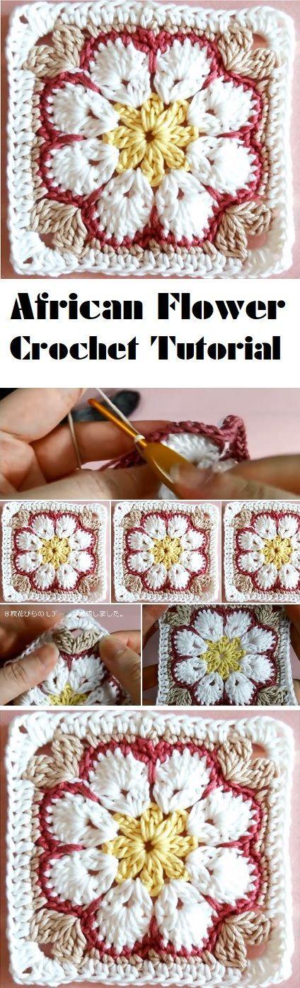 Just Be Crafts African Flower Square Tutorial Croche Pinterest