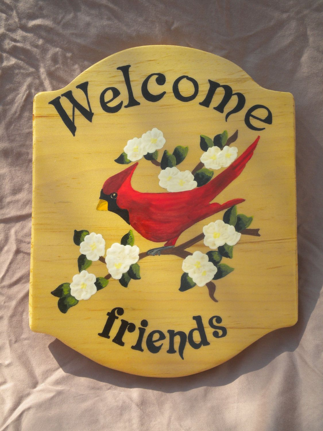 Welcome door sign,red cardinal painting, outdoor sign, welcome ...