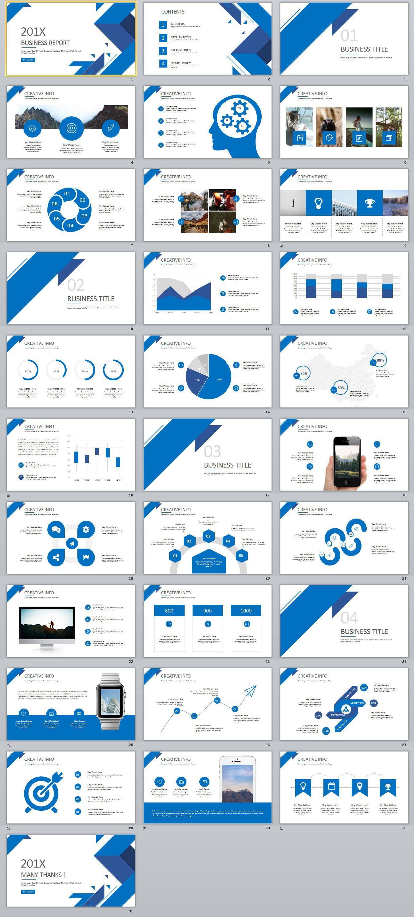 31 best blue business report powerpoint template powerpoint