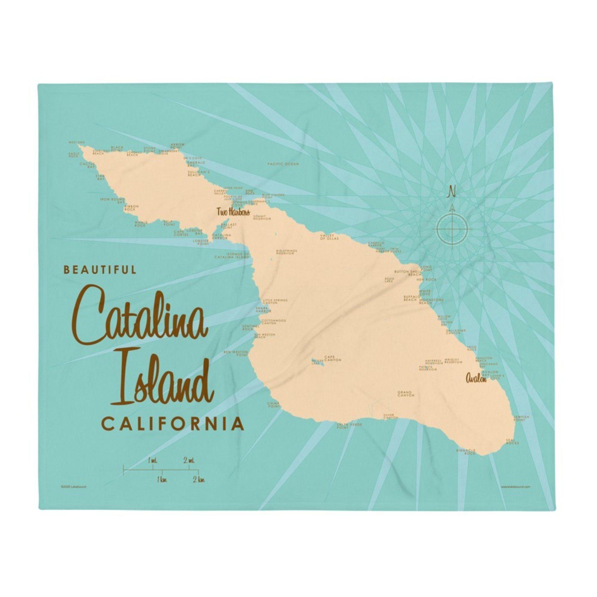 Catalina Island California Throw Blanket - 50x60 inch / White