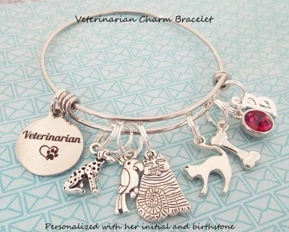 Personalized Veterinarian Bracelet Graduation Charm