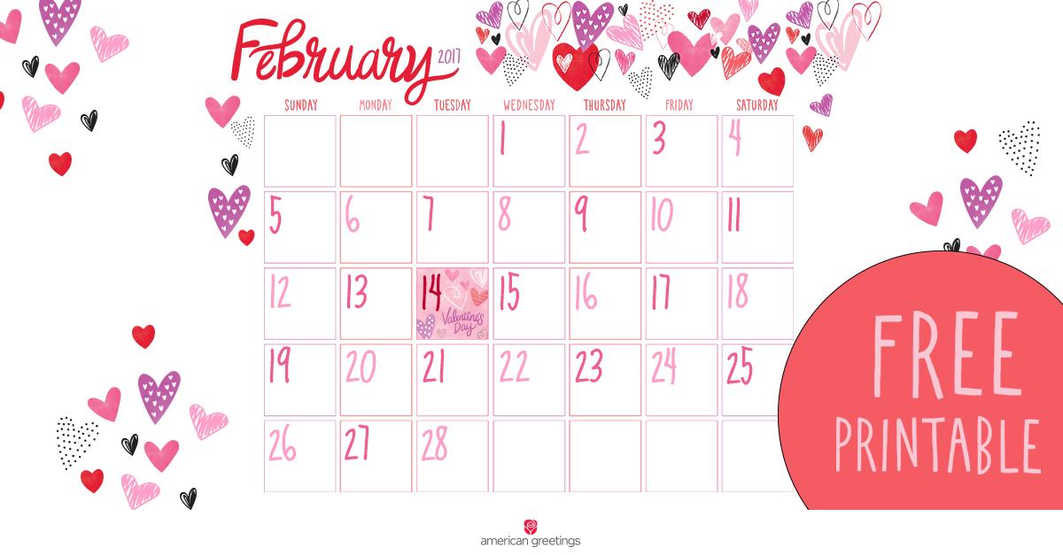 Free Printable February Calendar - American Greetings Blog