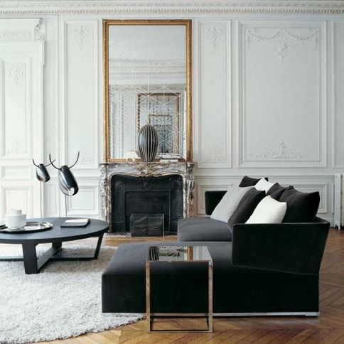 Favorite Style ever! heavy moldings, painted white, modern furniture ...