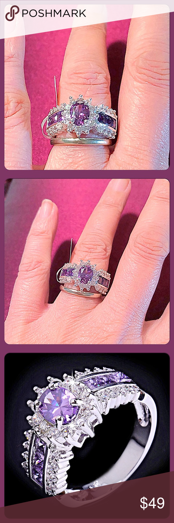 ✨ Beautiful 10kt White Gold Filled Amethyst Ring✨ | Ring finger ...