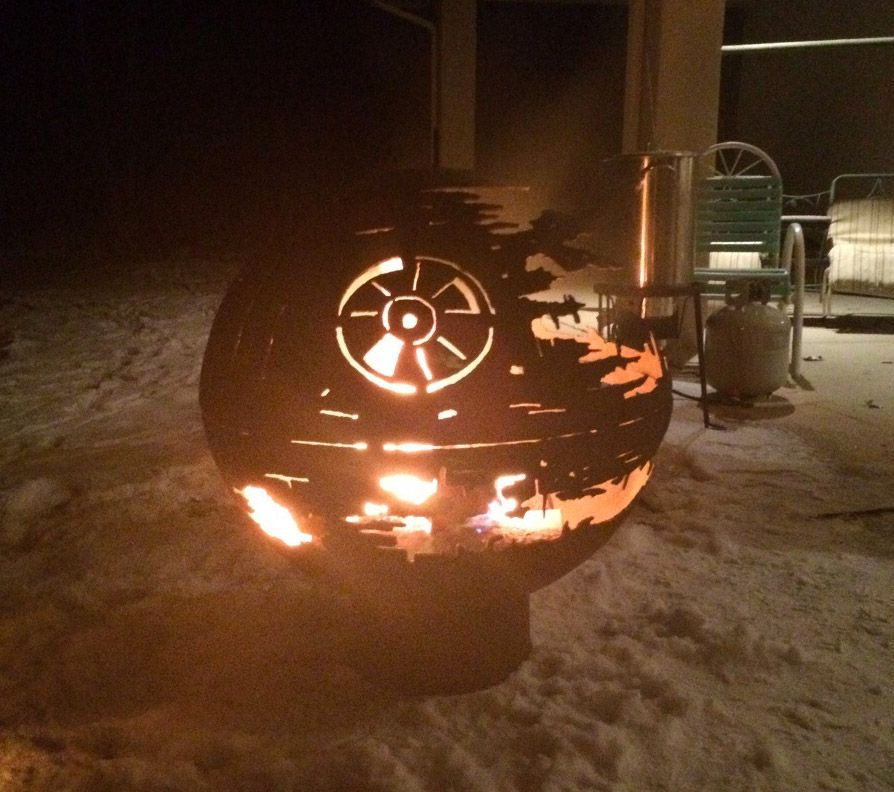 It's probably the world's coolest REAL Death Star fire pit. Redditor Bandia5309 received it as a present from his granddad. #starwars
