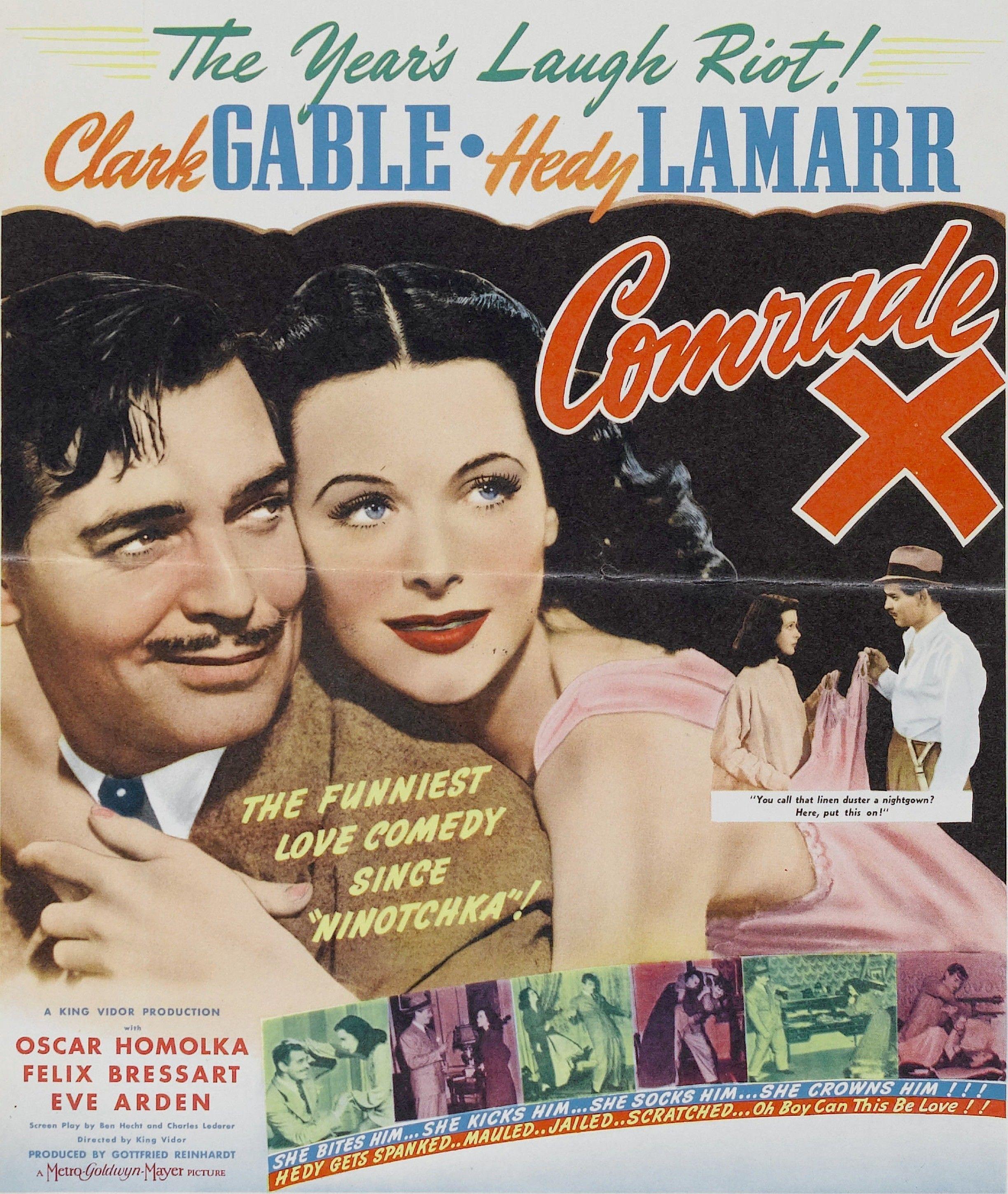 Comrade X Clark Gable Hedy Lamarr vintage movie poster print