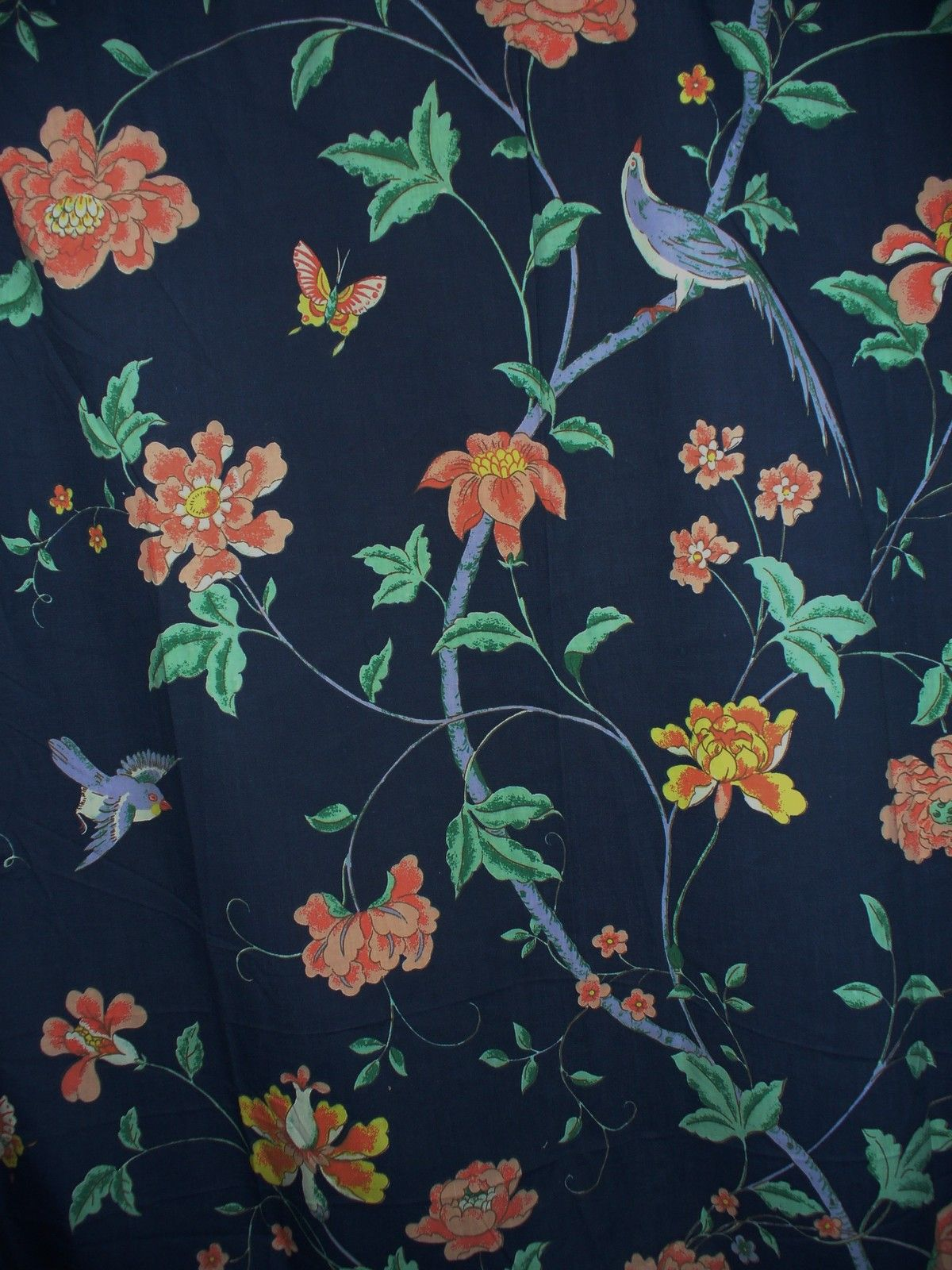Navy Blue Asian Inspired Fabric Shower Curtain Birds Chints Custom ...