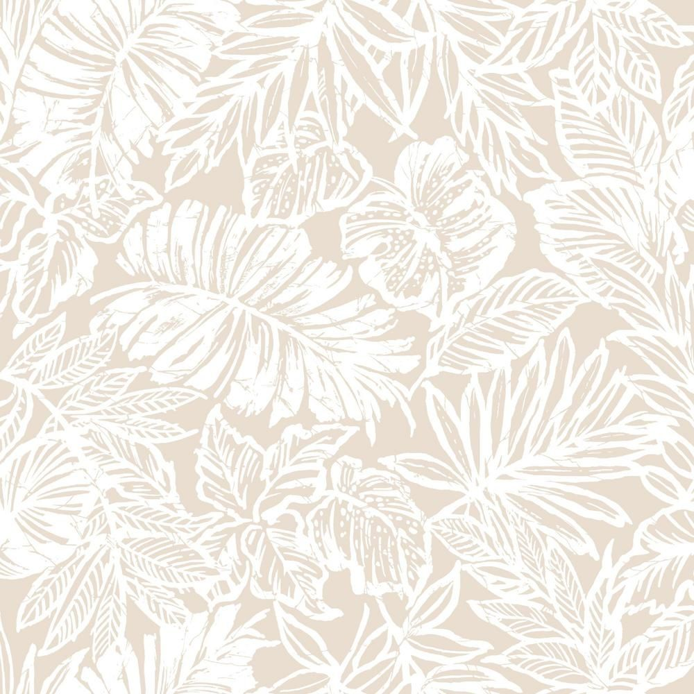 Roommates 28 29 Sq Ft Tropical Leaf Tan Peel And Stick Wallpaper Rmk11199rl The Home Depot Peel And Stick Wallpaper Wallpaper Tropical Leaves