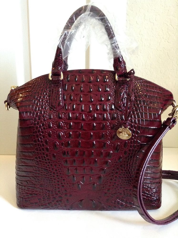 Brahmin Large Duxbury Satchel Black Cherry Melbourne Leather