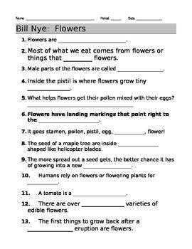 bill nye flowers video guide sheet bill nye nye and worksheets. Black Bedroom Furniture Sets. Home Design Ideas