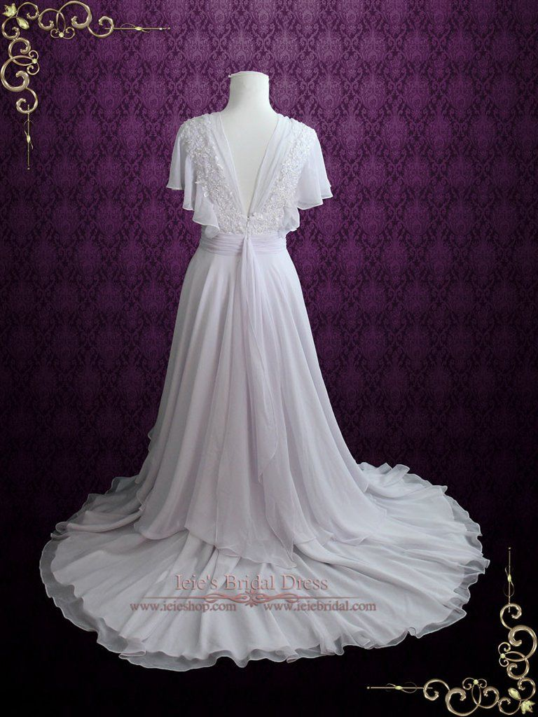 Beach whimsical grecian chiffon wedding dress with butterfly sleeves