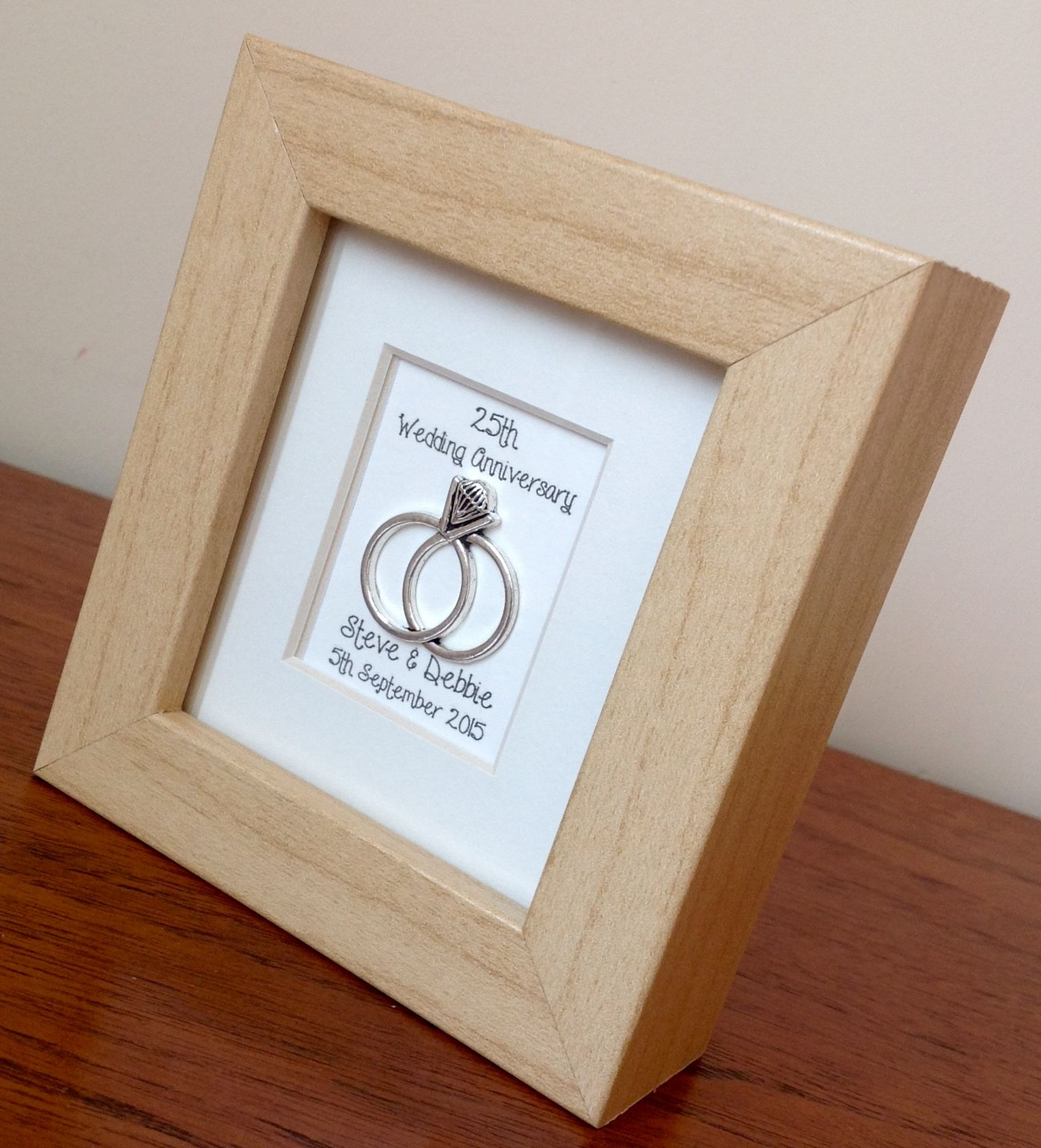 25th Wedding Anniversary Gift Frame Personalised. www
