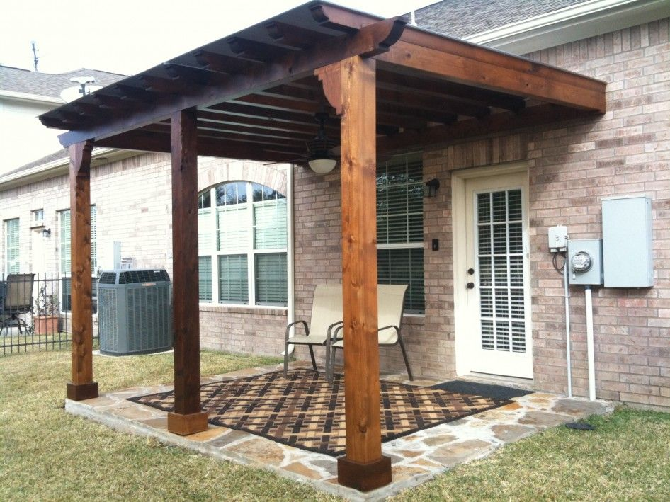 Inspiring Wood Patio Cover Designs With Wall Mounted Pergola Kits From  Reclaimed Wormy Chestnut Lumber Also A Pair Of Retro Outdoor Metal Chairs  Fru2026