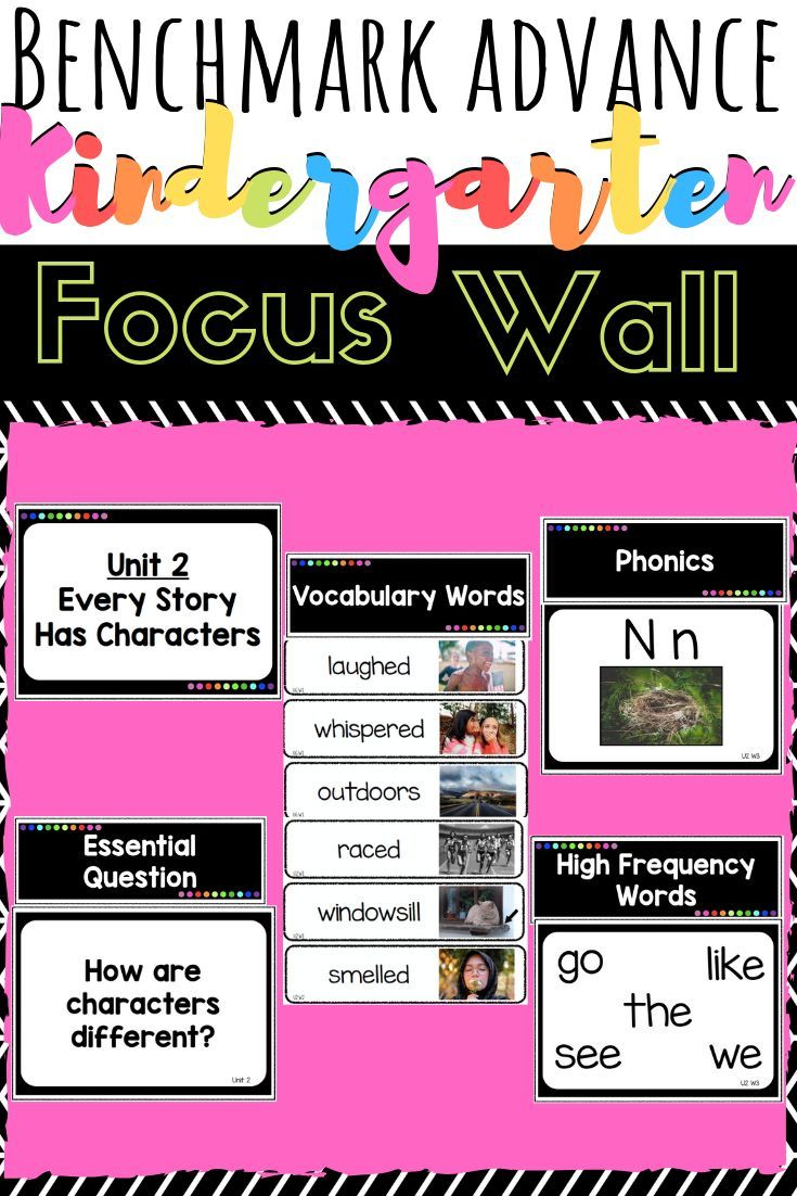 Benchmark Advance Kindergarten Focus Wall with Vocabulary Cards Kindergarten Focus Wall for Benchmark Advance Rainbow / Black and White version   *Covers all 10 Units  *includes – Unit Title Pages  – Essential Question  – Over 250 Vocabulary Cards with real photos  – Weekly Phonics focus with photos  – Weekly High Frequency Words / Sight Words – Rainbow dot Headers for each sect