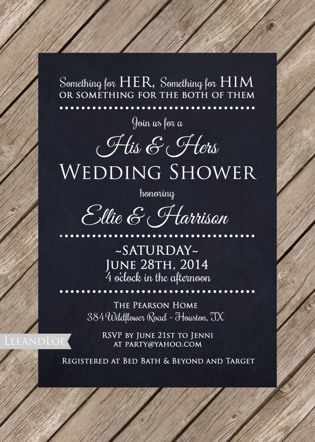 His And Hers Shower Invitations