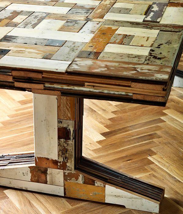 Tisch aus parkett holzwunder pinterest parkett for Wohnung tisch