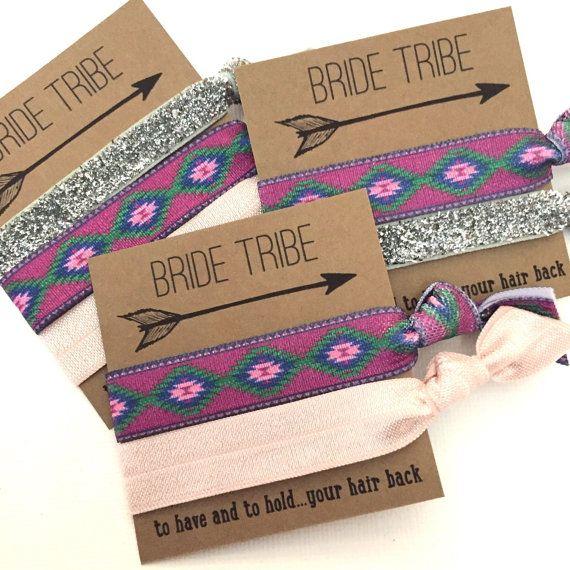Bachelorette Party Favors Hair Ties // Bride Tribe Purple
