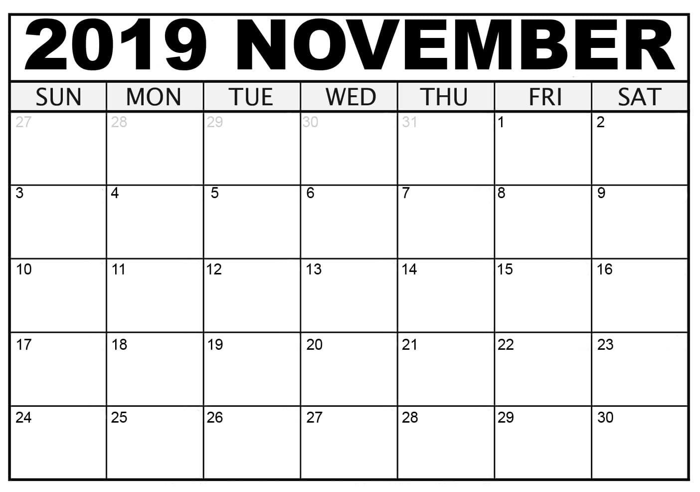 November 2019 Calendar Full Page Monthly Calendar Template