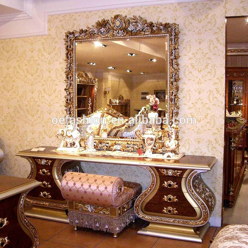 Luxury Large Wood Carving Mirrored Dressing Table With Mirror And