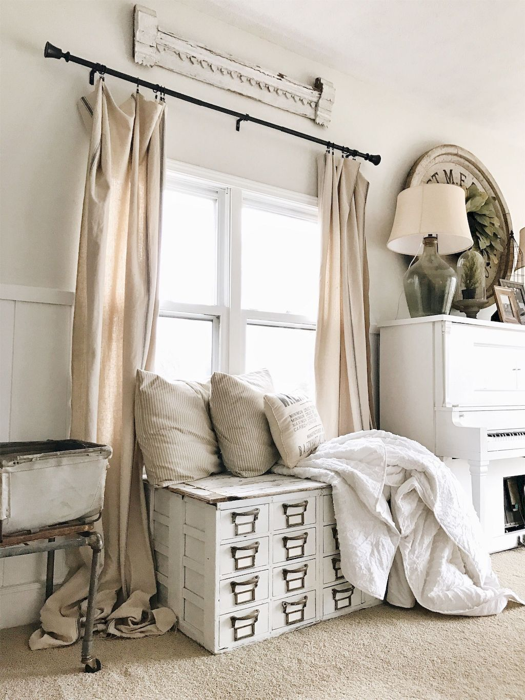 01 Modern Farmhouse Curtains for Living Room Decorating ... on Farmhouse Curtain Ideas For Living Room  id=32579
