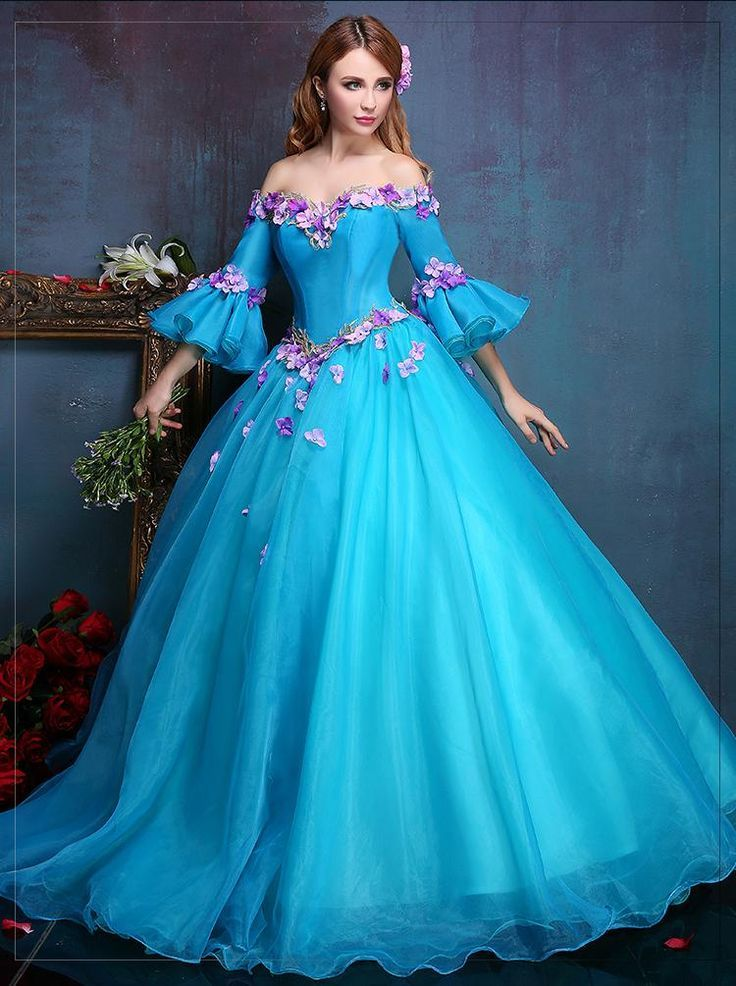 100 Real Royal Embroidery Blue Flower Ball Gown Medieval
