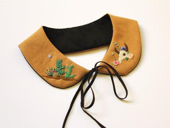 Hand embroidered ' Cactusland ' Peter Pan Collar by BaobapHandmade