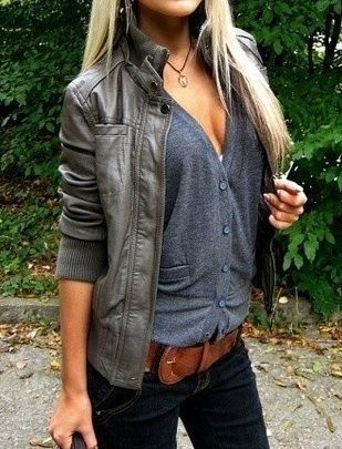 Sexy outfit with leather jacket and button up cardigan like shirt!