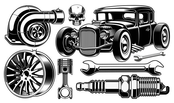 Hot Rod 52 Free Vectors To Download Freevectors Design Elements Black And White Design Vector Free