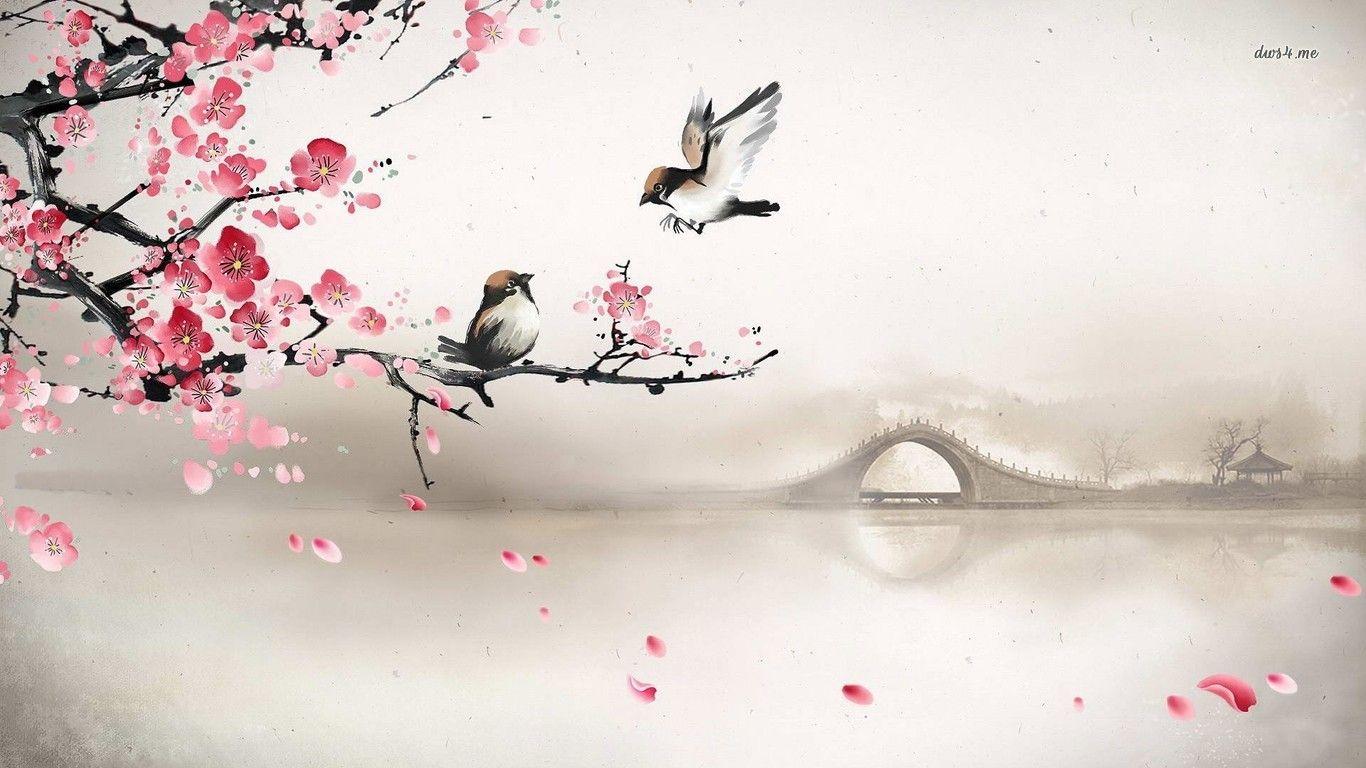 Sparrows On The Cherry Tree Hd Wallpaper Flor De Cerejeira Flor De Cerejeira Arte Tatuagens De Flor De Cerejeira