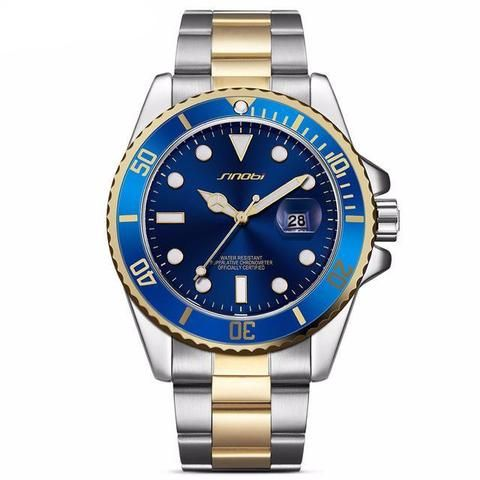 Fashion Luxury Men's  Stainless Steel Band With Date Display  Blue For Him Gift ideas guys dad Gold Fashion Luxury Men's  Stainless Steel Band With Date Display Waterproof Luminous pointer   Luxury Fashion Affordable Stainless Steel Black Watches For Men Products Shops stores links website For Sale online Shopping buy AuhaShop.com