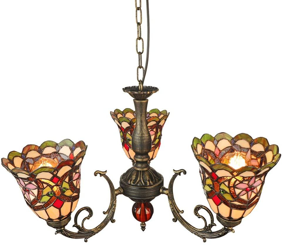 Litfad Victorian Style Chandelier Upward Bell Design 3 Lights Ceiling Hanging Light With Colorful Glass Sh Hanging Ceiling Lights Ceiling Lights Hanging Lights