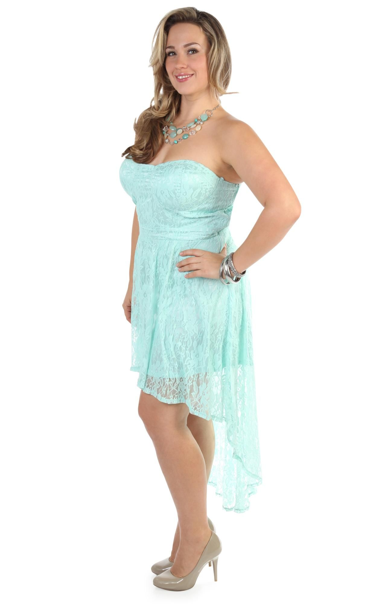mint plus size corset style strapless high low #prom #dress $62.50 ...