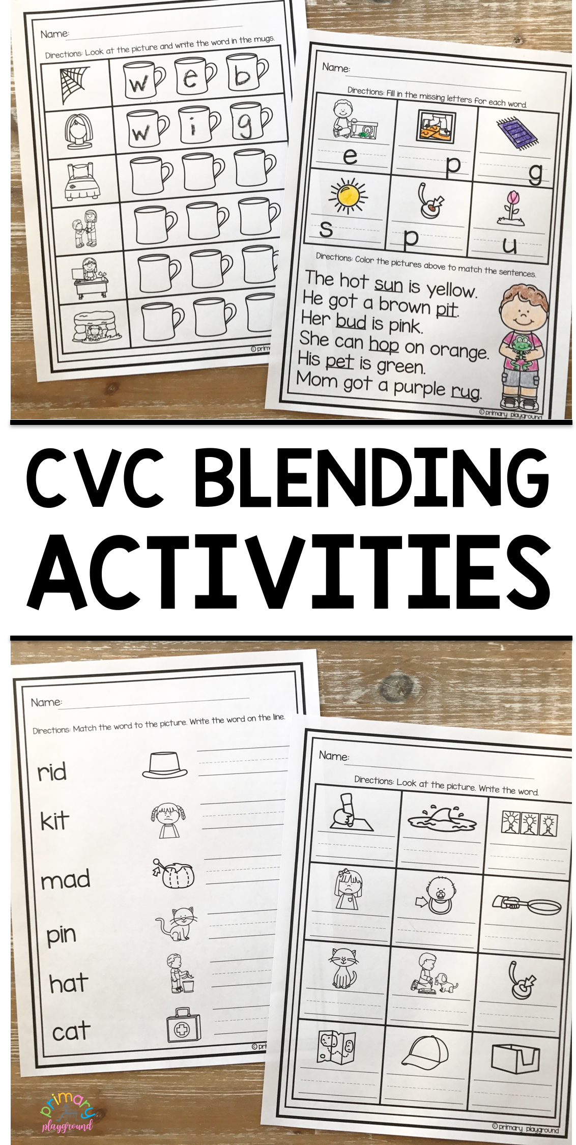 Cvc Blending Activities Spiral Review