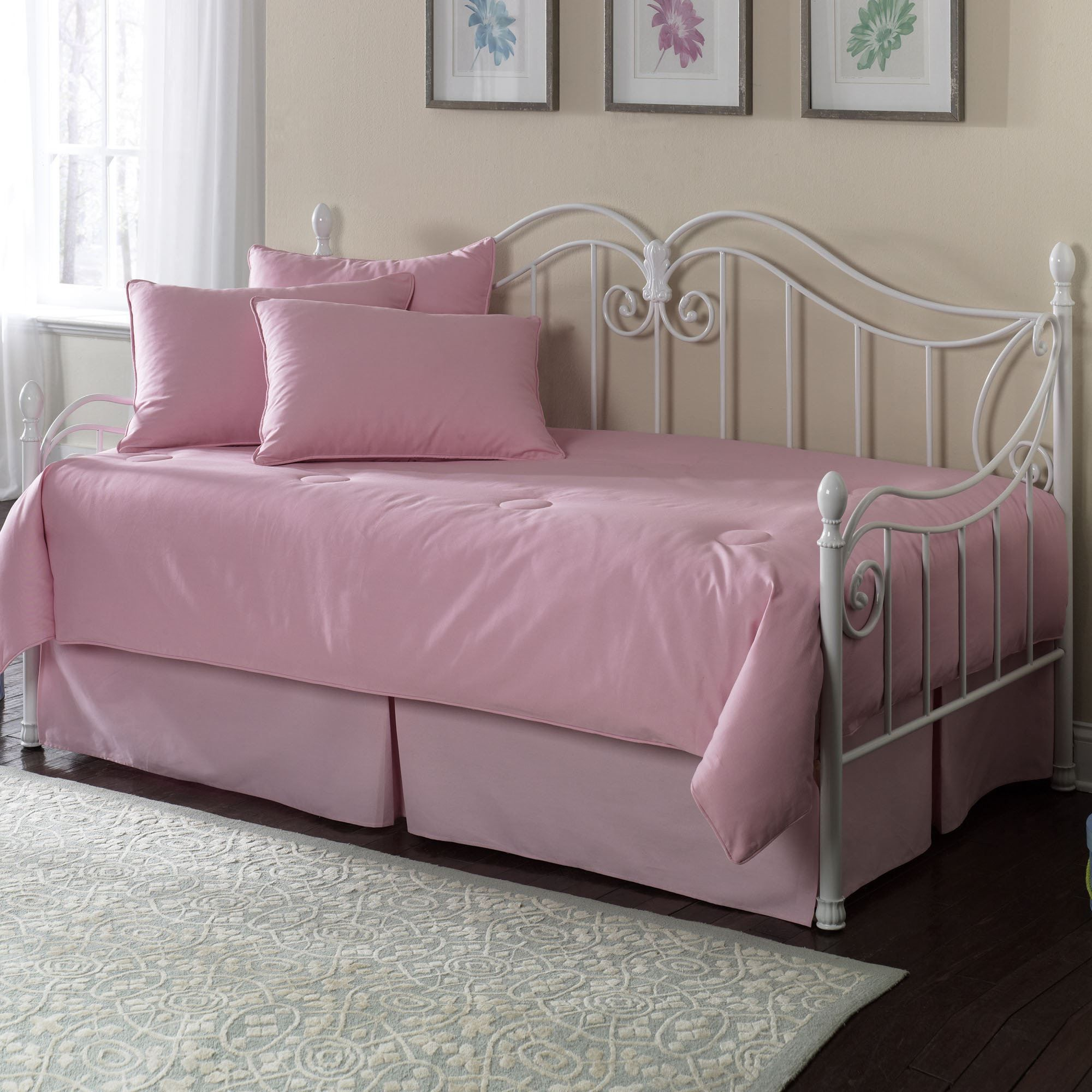 awesome metal daybeds with trundles and pink cushions daybeds
