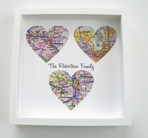 Gift for Dad Personalized Map Heart Art Gift FRAMED ART