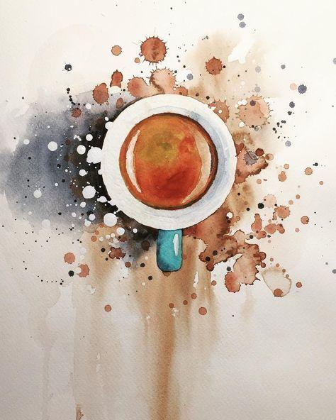 Aquarell Espresso, Kaffee, Aquarell, Gemälde von Jiri Zraly instagram.com/z ... #wasserfarbenkunst