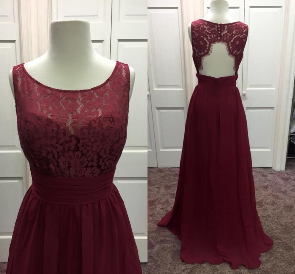 2016 new burgundy bridesmaid dresses real pictures jewel neck 2016 new burgundy bridesmaid dresses real pictures jewel neck chiffon and lace floor length guest gowns with backless and sleeveless ombrellifo Choice Image