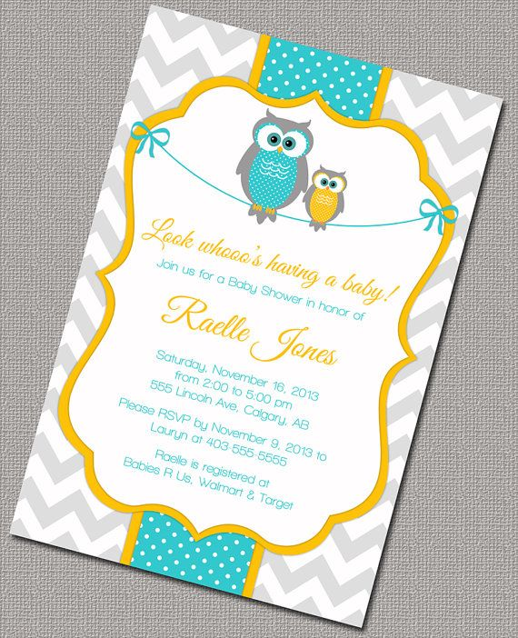 Neutral Baby Shower Invitation With Owls Printable Yellow