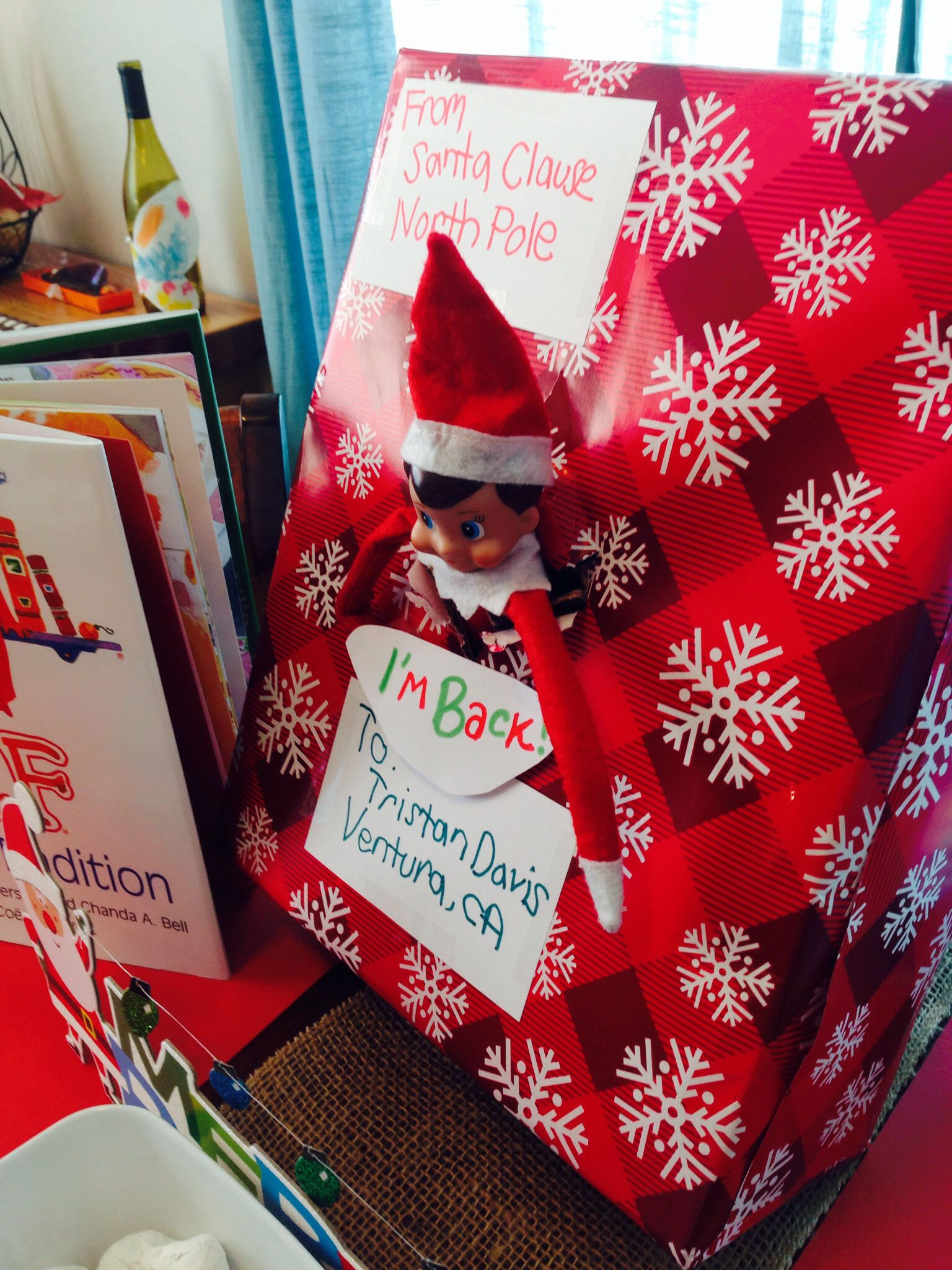 Elf on the Shelf , first day back! Write with your left hand
